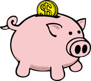 Piggy Bank. Dollar coin falling into piggy bank Royalty Free Stock Image