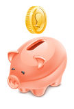 Piggy bank. Vector illustration of piggy bank on white background Royalty Free Stock Images