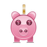 Piggy bank. Cute piggy bank with euro and dollar coins Royalty Free Stock Image