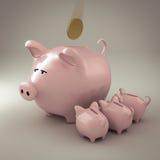 Piggy bank. 3d render of a piggy bank with little piggies feeding Royalty Free Stock Photos