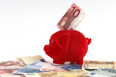 Piggy bank. Standing on Euro-banknotes Royalty Free Stock Photo