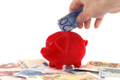 Piggy bank. Standing on Euro-banknotes Stock Images
