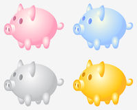 Piggy bank. Group; pink; yellow; gray; varicoloured; isolated vector illustration Stock Photos