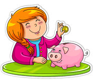 Piggy bank. Little girl putting a coin in her piggy bank Stock Images