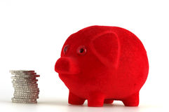 Piggy bank. Standing beneath Euro-coins Royalty Free Stock Photography
