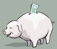 Piggy bank. And  bank note Royalty Free Stock Photo