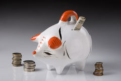 Piggy bank. Piggy with coins and bills for savings, over faded background Stock Images