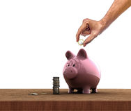 Piggy bank. Hand inserting a coin into a piggy bank Royalty Free Stock Image