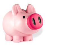 Piggy Bank. A pink piggy bank with an Australian five dollar bill on top Royalty Free Stock Images