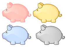 Piggy bank. Group. Multicolor pig set. Vector illustration Stock Images