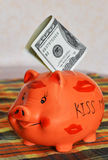 Piggy bank. In the manner of pigs with money bill Stock Image