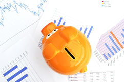 Piggy bank. On a financial report Stock Image