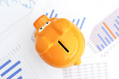 Piggy bank. On a financial report Royalty Free Stock Images