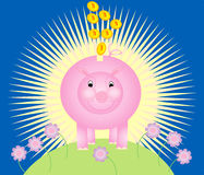 Piggy bank. A pink piggy bank and gold coins stock illustration