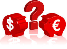 Piggy bank 3d euro dollar. Question mark between dollar and euro piggy banks Royalty Free Stock Photo