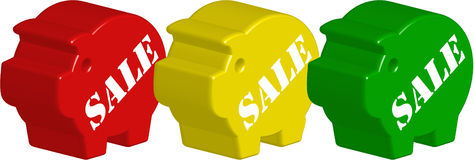 Piggy bank 3d sale no. 3. Three 3d piggy banks imprinted with sale Royalty Free Stock Photo