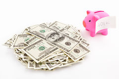 Piggy bank 401K and dollar Royalty Free Stock Photo