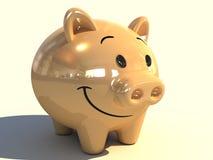 Piggy bank. A 3D gold piggy bank Royalty Free Stock Photo