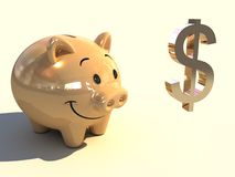 Piggy bank. A 3D gold piggy bank with money Royalty Free Stock Images