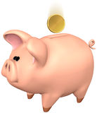 Piggy Bank. You can simply add your favorite logo to the golden coin. Piggy Bank with isolation on a white background Royalty Free Stock Images