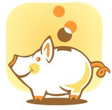 Piggy bank. Stylized piggy bank and coin on a yellow background Stock Photo