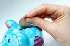 Piggy bank. Business savings in piggy bank stock photo