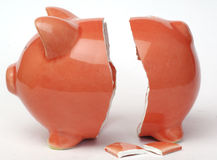 Piggy bank. Broken piggy bank on white backround Stock Photography