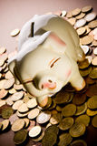 Piggy bank. On pile of coins Stock Image