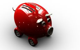 Piggy bank. Save some money, buy a car. Computer generated piggy bank 3D concept Royalty Free Stock Photography