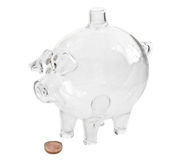 Piggy Bank. Empty piggy bank over white stock photo