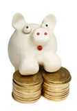 Piggy bank. Plasticine piggy bank stands on heaps of gold coins stock photos