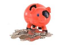 Piggy bank. Moneys around the piggy bank Stock Image