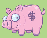 Piggy Bank. Cartoon vector illustration of a silly piggy bank stock illustration