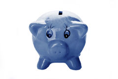 Piggy Bank. Blue Piggy Bank against white background Royalty Free Stock Photos