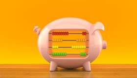 Piggy bank with abacus. On orange background Stock Photos