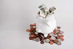 Piggy bank from above stuffed with money Royalty Free Stock Image