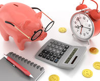 Piggy Bank Accounting. 3D rendered graphics on the subject of Financial Accountancy Stock Photo