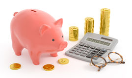 Piggy Bank Accounting (Yen Coins) Royalty Free Stock Photography