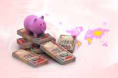 Piggy Bank And Currency Royalty Free Stock Images