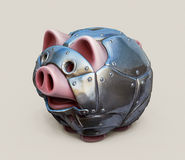 Piggy bank armoured. Metal armoured toy piggy bank 3d illustration Stock Photo