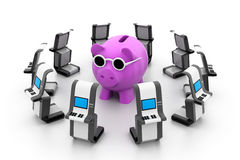 Piggy bank with ATM Stock Image