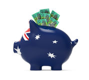 Piggy Bank with Australian Dollar. Isolated on white background. 3D render Stock Images