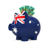 Piggy Bank with Australian Dollar Royalty Free Stock Photo