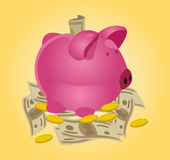Piggy bank background Stock Images