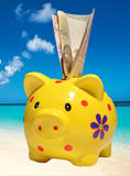 Piggy bank on a background of the sea Royalty Free Stock Image
