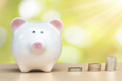 Piggy Bank and baht money tower Royalty Free Stock Photos