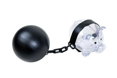 Piggy Bank with a Ball and Chain Stock Images