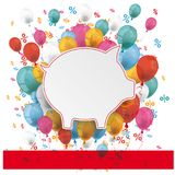 Blue Pink Paper Circles Balloons Percents Banner. Piggy bank with balloons and percents on the white Royalty Free Stock Image