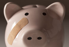 Piggy Bank with Bandage on Face Stock Images