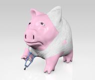 Piggy bank bandaged Stock Photo